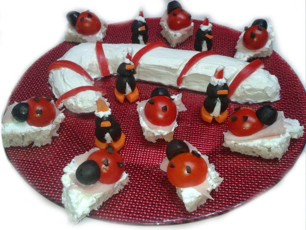 Antipasti Di Natale Pinguini Con Olive E Formaggio.Antipasti Natale